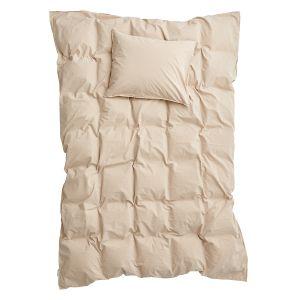 Påslakanset Dubbel Crinkle Sand, 220 x 230 cm - Ekologiska sängkläder