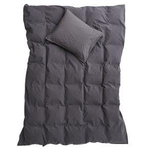 Påslakanset Enkel Crinkle Dark Grey, 150 x 210 cm - Ekologiska sängkläder
