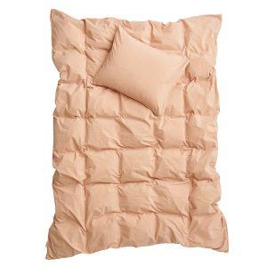 Påslakanset Enkel Crinkle Peach Pink, 150 x 260 cm - Ekologiska sängkläder