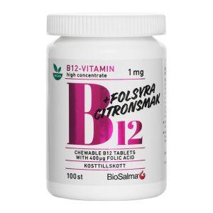 BioSalma B12-vitamin med folsyra – tuggtablett med citronsmak