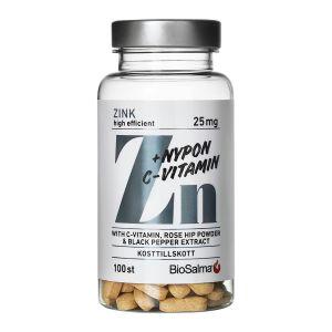 BioSalma Zink + C-vitamin & Nyponpulver – med vitaminer & mineraler