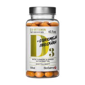 Köp BioSalma D3-vitamin Gurkmeja Ingefära 120 kapslar