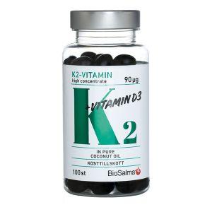 Köp BioSalma K2-vitamin 90µg, 100 kapslar på happygreen.se