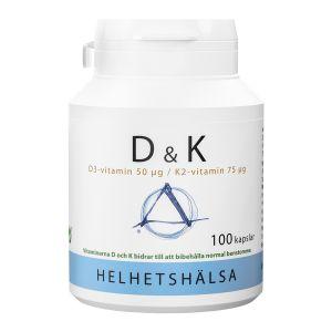 Helhetshälsa D & K, D3-vitamin & K2-vitamin – kosttillskott med vitamin D och K