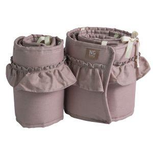 NG Baby Spjälskydd Bedside Crib Mood Ruffle Dusty Pink – med volang
