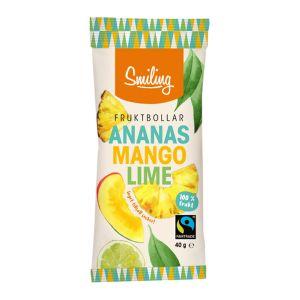 Fruktbollar Ananas Mango Lime, 40 g