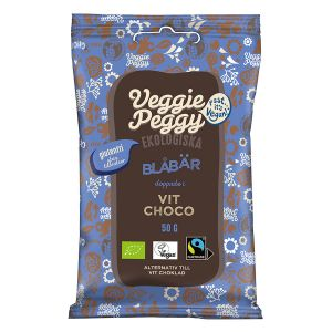 Veggie Peggy Vitchokladdoppade Blåbär – vegansk choklad