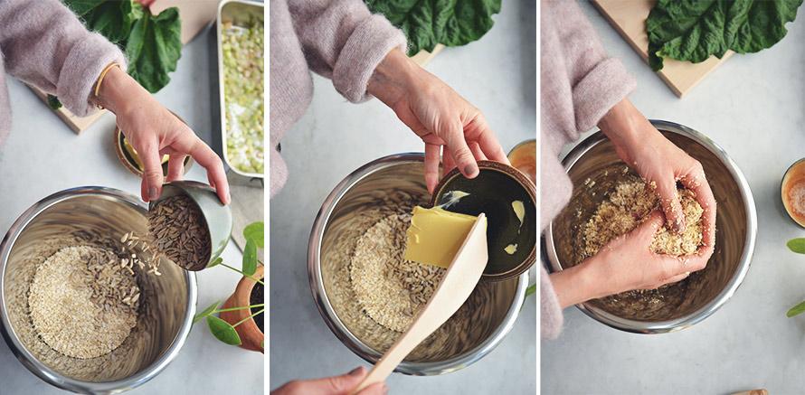 Kollage med tre bilder som visar tre olika steg i tillagningsprocessen.